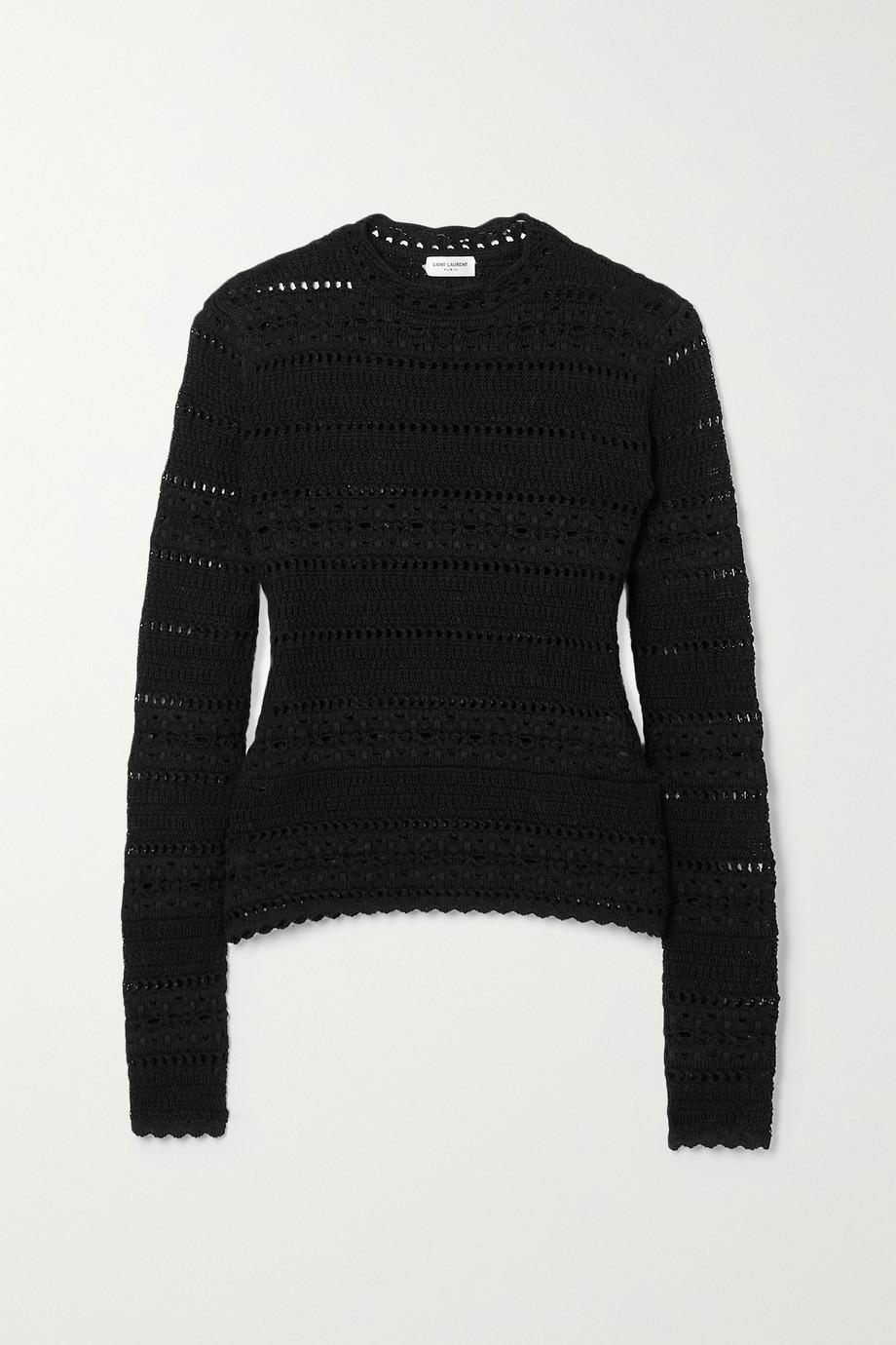 SAINT LAURENT Crocheted cotton sweater