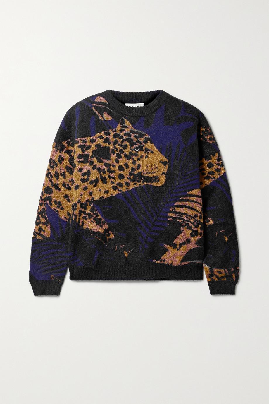 SAINT LAURENT Metallic jacquard-knit sweater