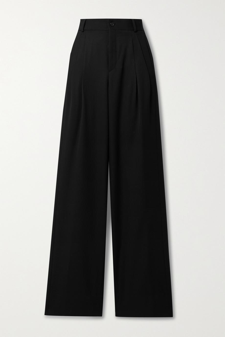 SAINT LAURENT Bundfaltenhose mit weitem Bein aus Grain de Poudre aus Wolle