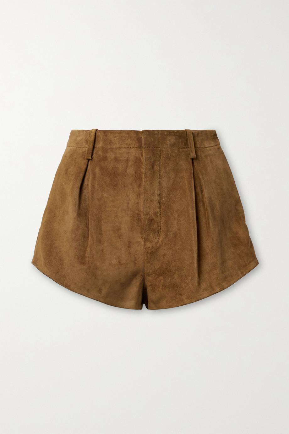 SAINT LAURENT Short en daim à plis