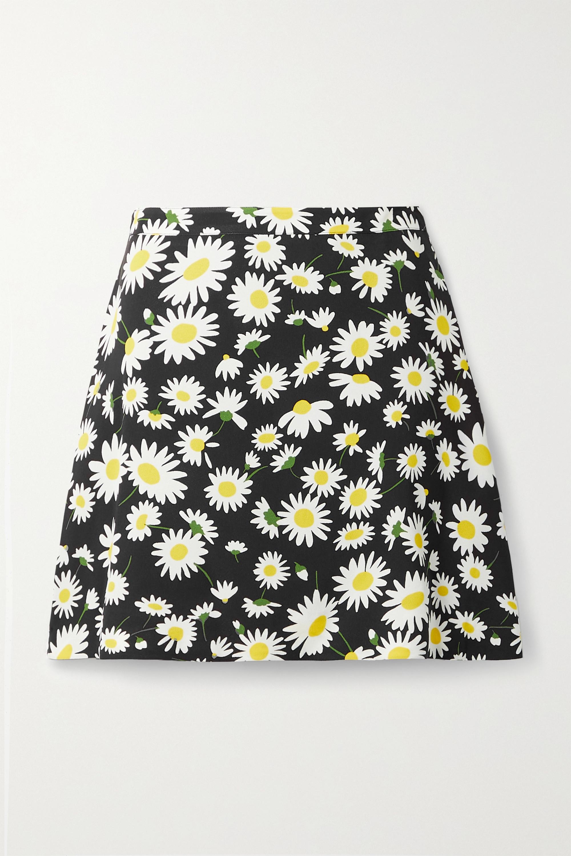 SAINT LAURENT Floral-print crepe mini skirt