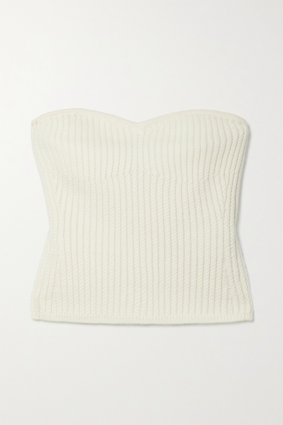 SAINT LAURENT Strapless ribbed wool top