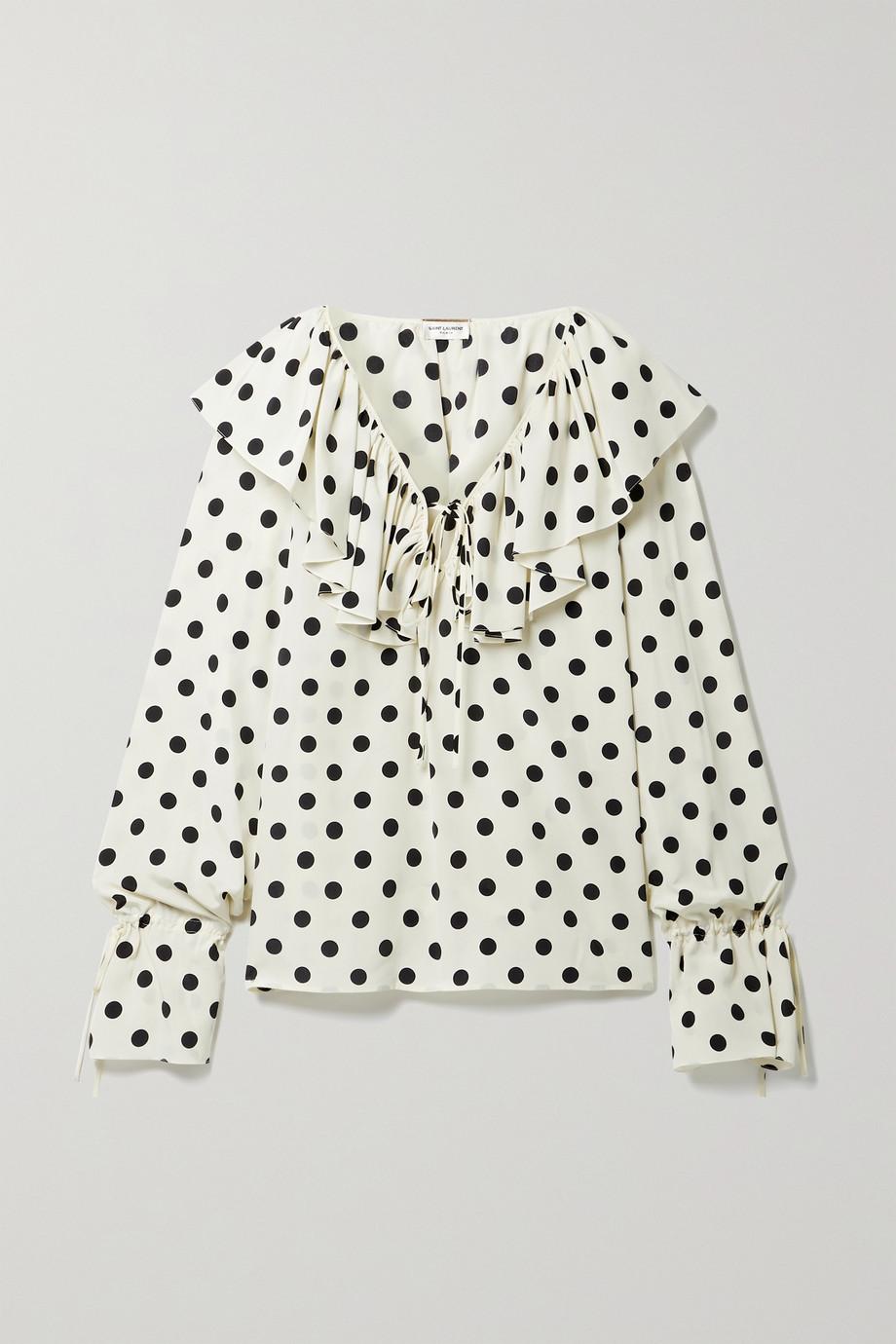 SAINT LAURENT Ruffled polka-dot silk crepe de chine blouse