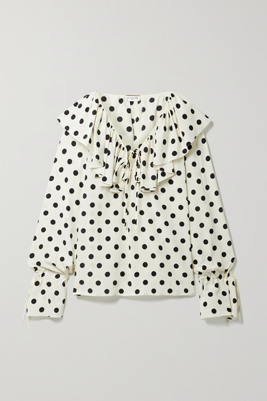 Saint Laurent RUFFLED POLKA-DOT SILK CREPE DE CHINE BLOUSE