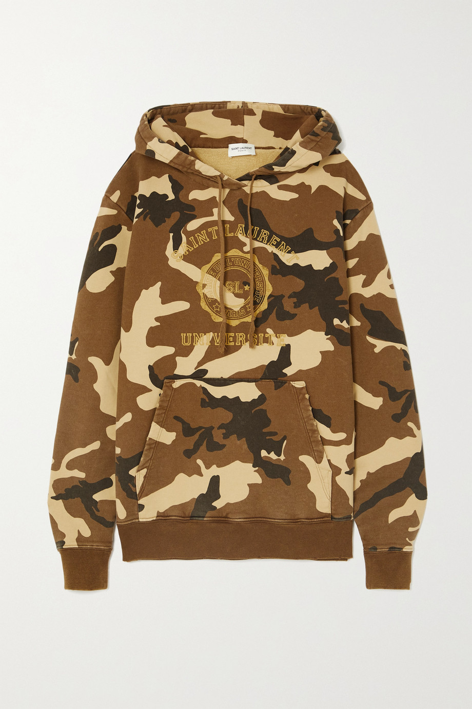 SAINT LAURENT Camouflage-print cotton-jersey hoodie