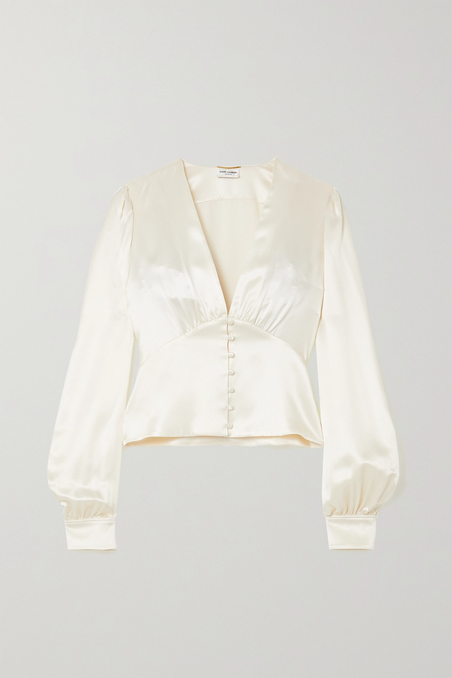 SAINT LAURENT Hammered silk-satin blouse