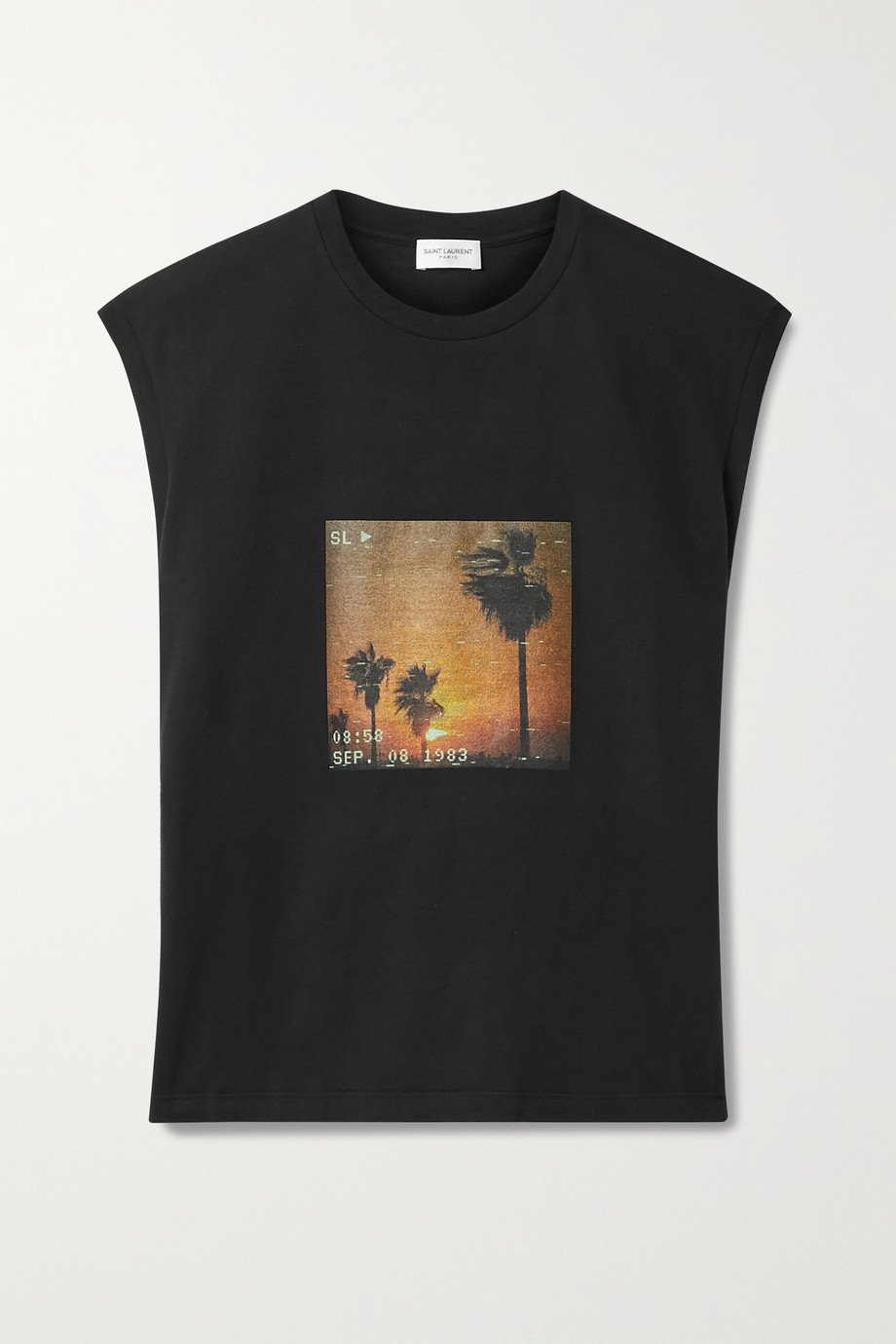 SAINT LAURENT Printed cotton-jersey tank
