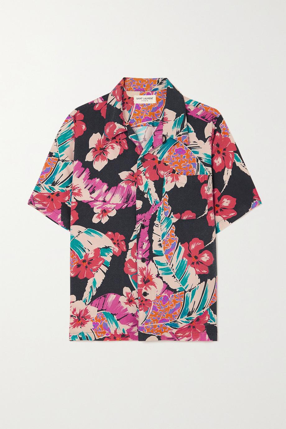 SAINT LAURENT Floral-print twill shirt