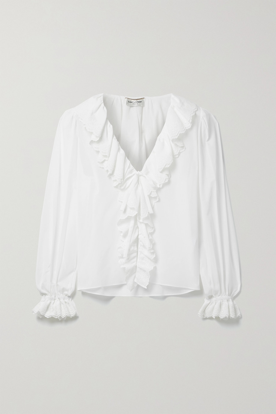 SAINT LAURENT Ruffled broderie anglaise-trimmed cotton-voile blouse