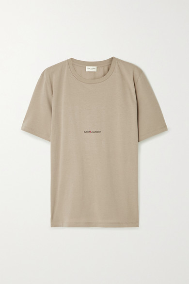 SAINT LAURENT - Printed Cotton-jersey T-shirt - Army green