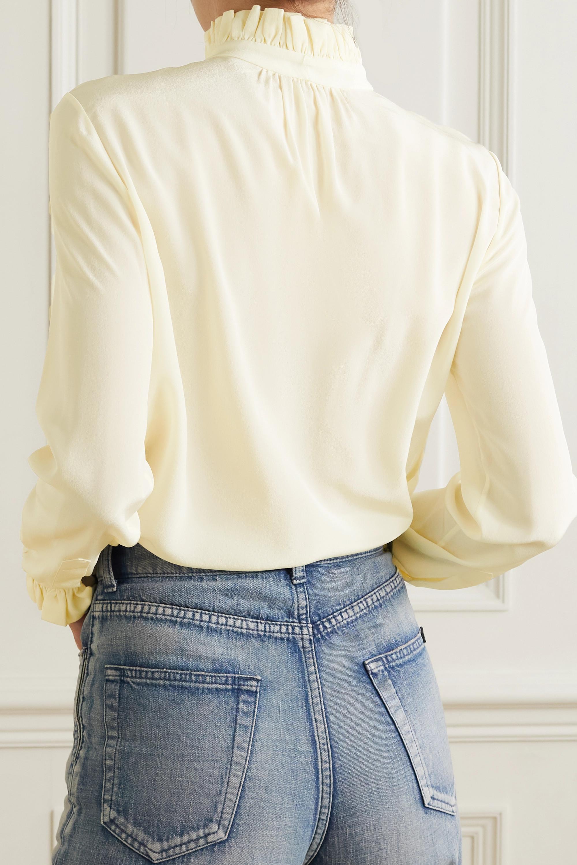 SAINT LAURENT Pussy-bow ruffled silk crepe de chine blouse
