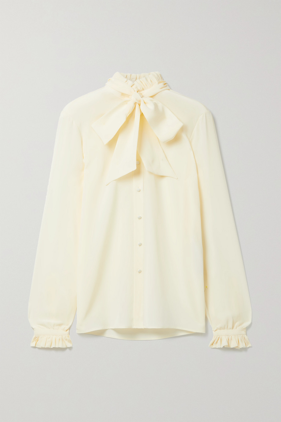 SAINT LAURENT Pussy-bow ruffled silk crepe de chine blouse