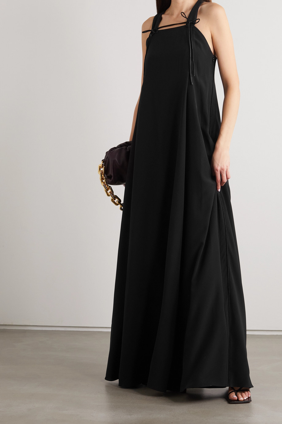 Victoria Beckham Satin-trimmed silk-crepe maxi dress