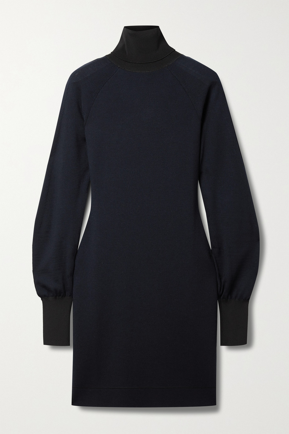 Victoria Beckham Two-tone wool-blend turtleneck mini dress