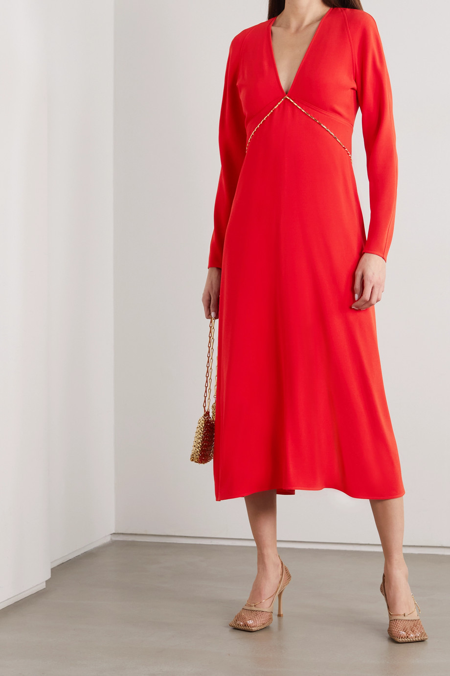 Victoria Beckham Chain-embellished open-back crepe midi dress