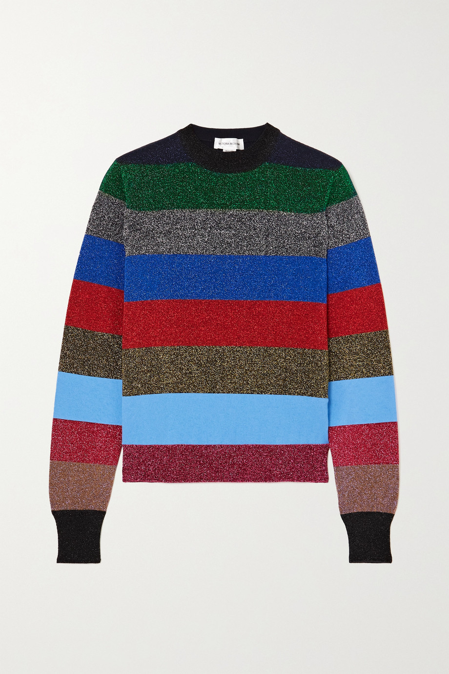 Victoria Beckham Gestreifter Pullover aus Lurex® aus einer Baumwollmischung