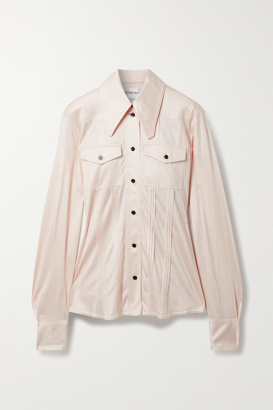 Victoria Beckham Pintucked silk-satin jersey shirt