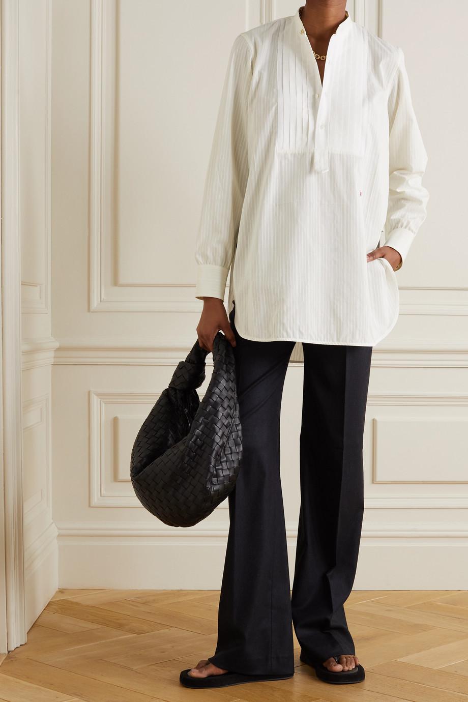 Victoria Beckham 车缝褶拼接刺绣纯棉府绸衬衫