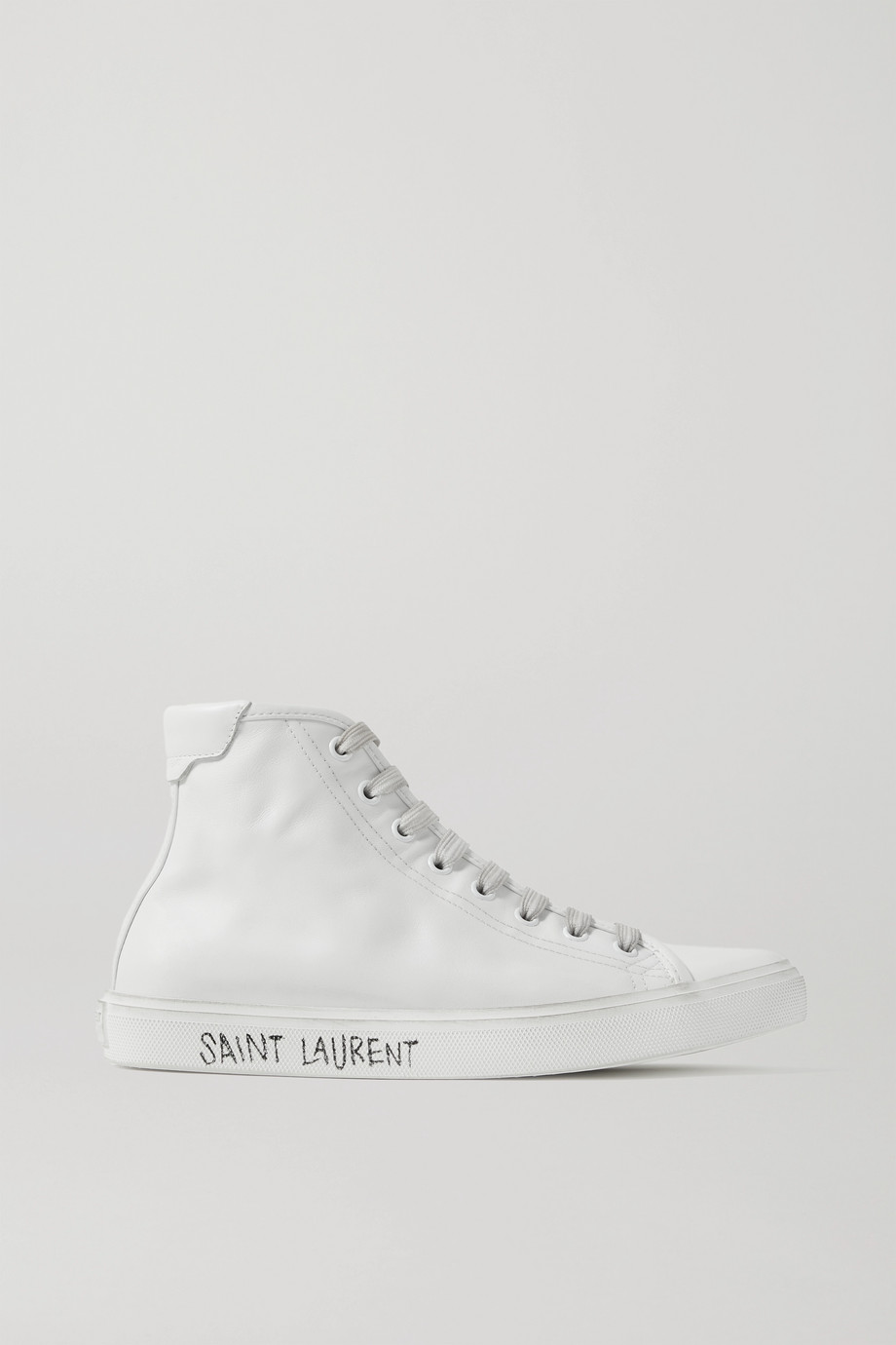 SAINT LAURENT Malibu distressed leather high-top sneakers