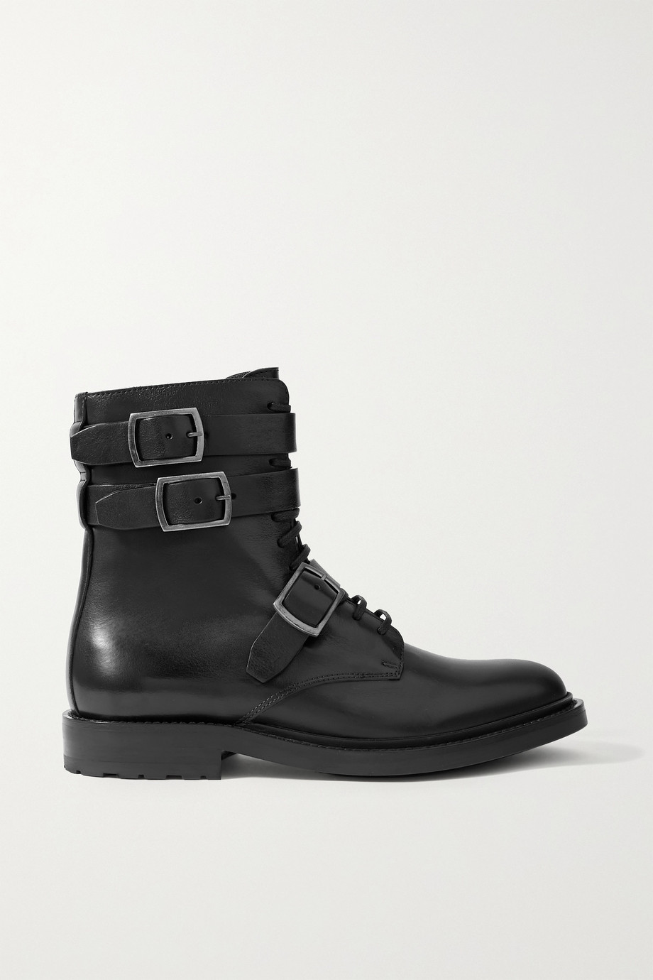 SAINT LAURENT Army buckled leather ankle boots