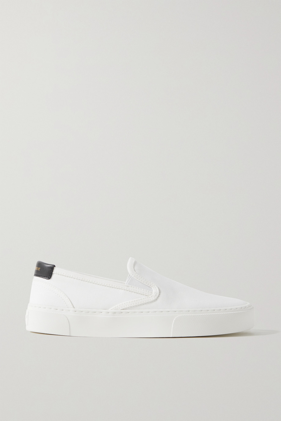 SAINT LAURENT Venice leather-trimmed canvas slip-on sneakers