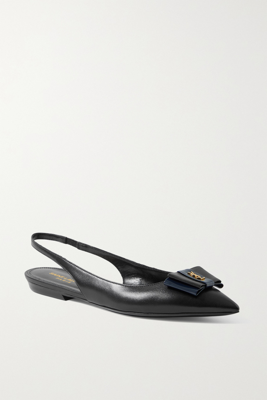 SAINT LAURENT Anais bow-embellished leather slingback point-toe flats