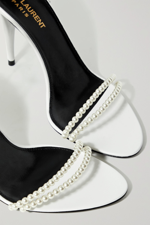 SAINT LAURENT Luna Sandalen aus Leder mit Kunstperlen