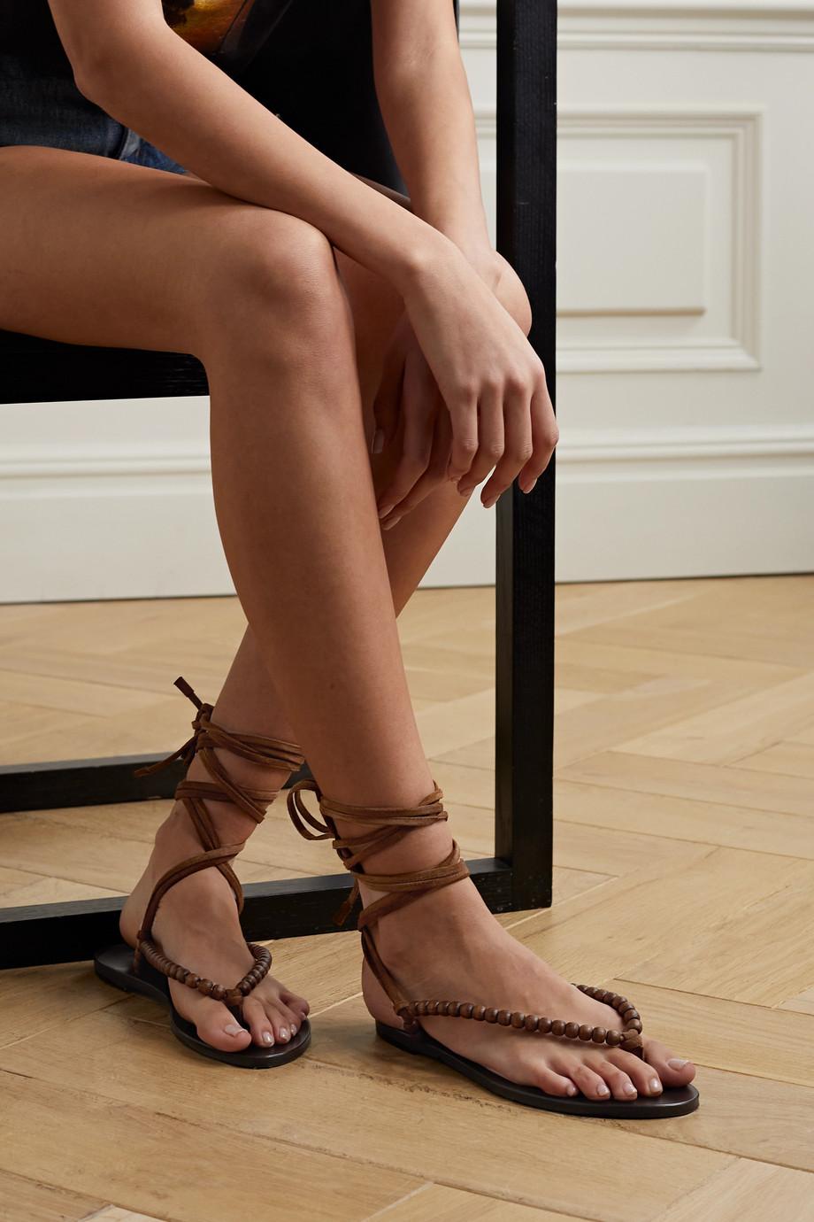 SAINT LAURENT Gia Sandalen aus Veloursleder mit Holzperlen