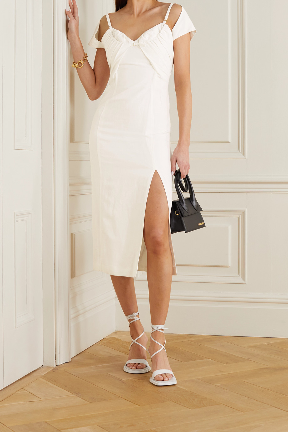 Jacquemus Tovallo buckled layered linen-blend midi dress