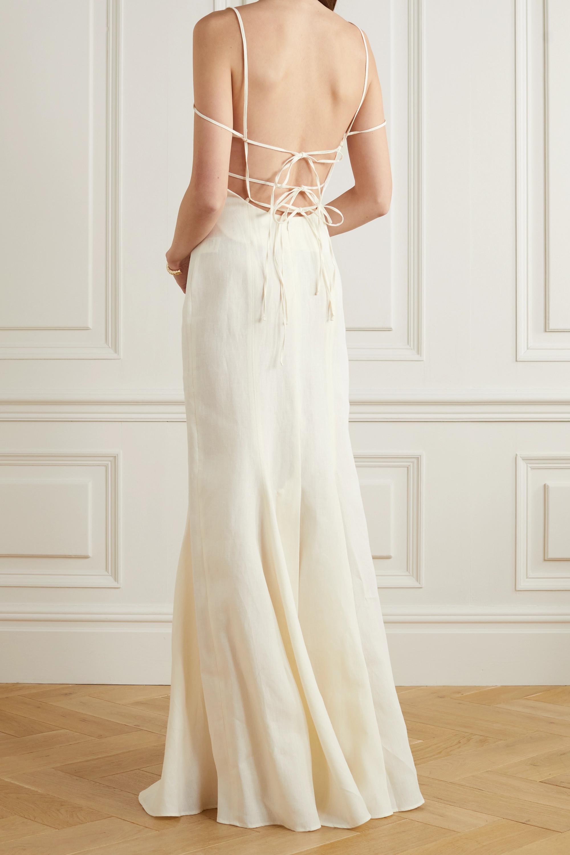 Jacquemus Open-back cutout linen gown
