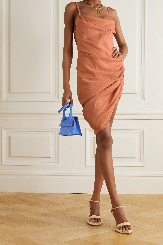 Jacquemus Saudade asymmetric draped hemp-blend mini dress