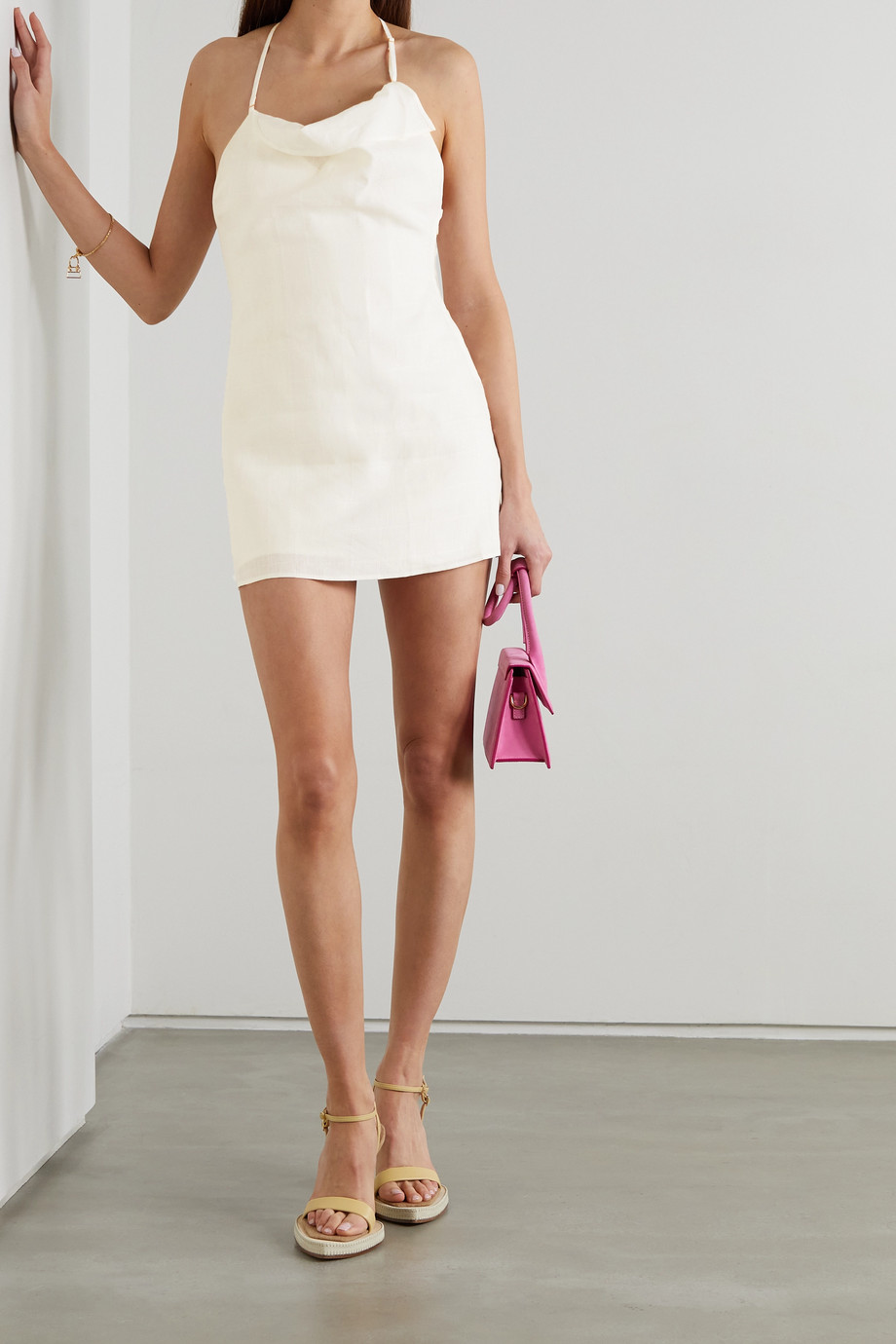 Jacquemus Nappe layered embroidered linen halterneck playsuit