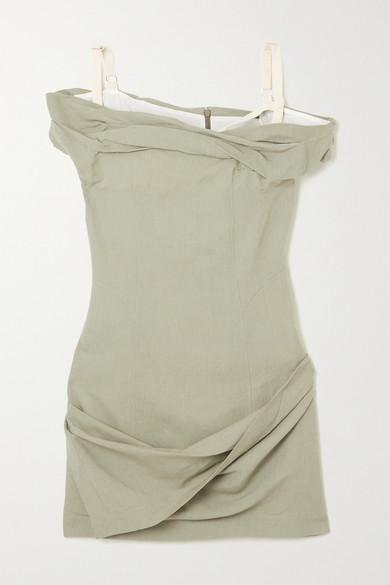 Jacquemus Cottons FOGLIO OFF-THE-SHOULDER GATHERED LINEN-BLEND MINI DRESS