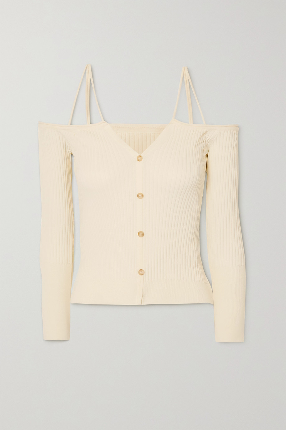 Jacquemus Tordu off-the-shoulder cutout ribbed-knit cardigan