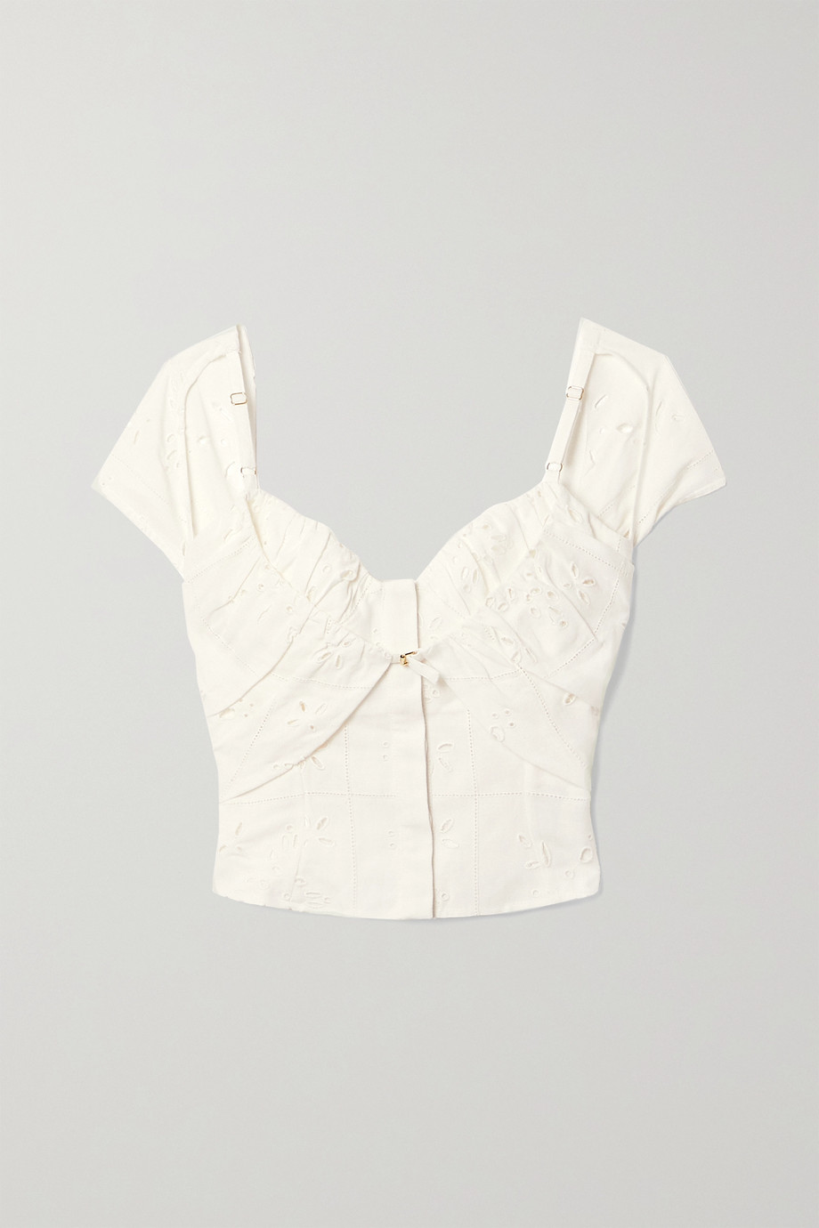 Jacquemus Tovallo cutout broderie anglaise linen-blend bustier top