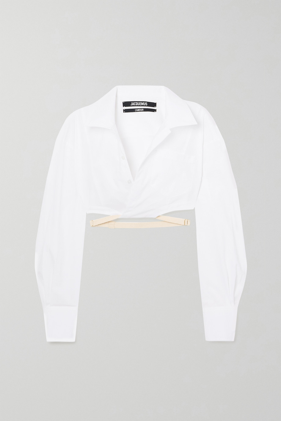 Jacquemus Laurier cropped buckled cotton shirt