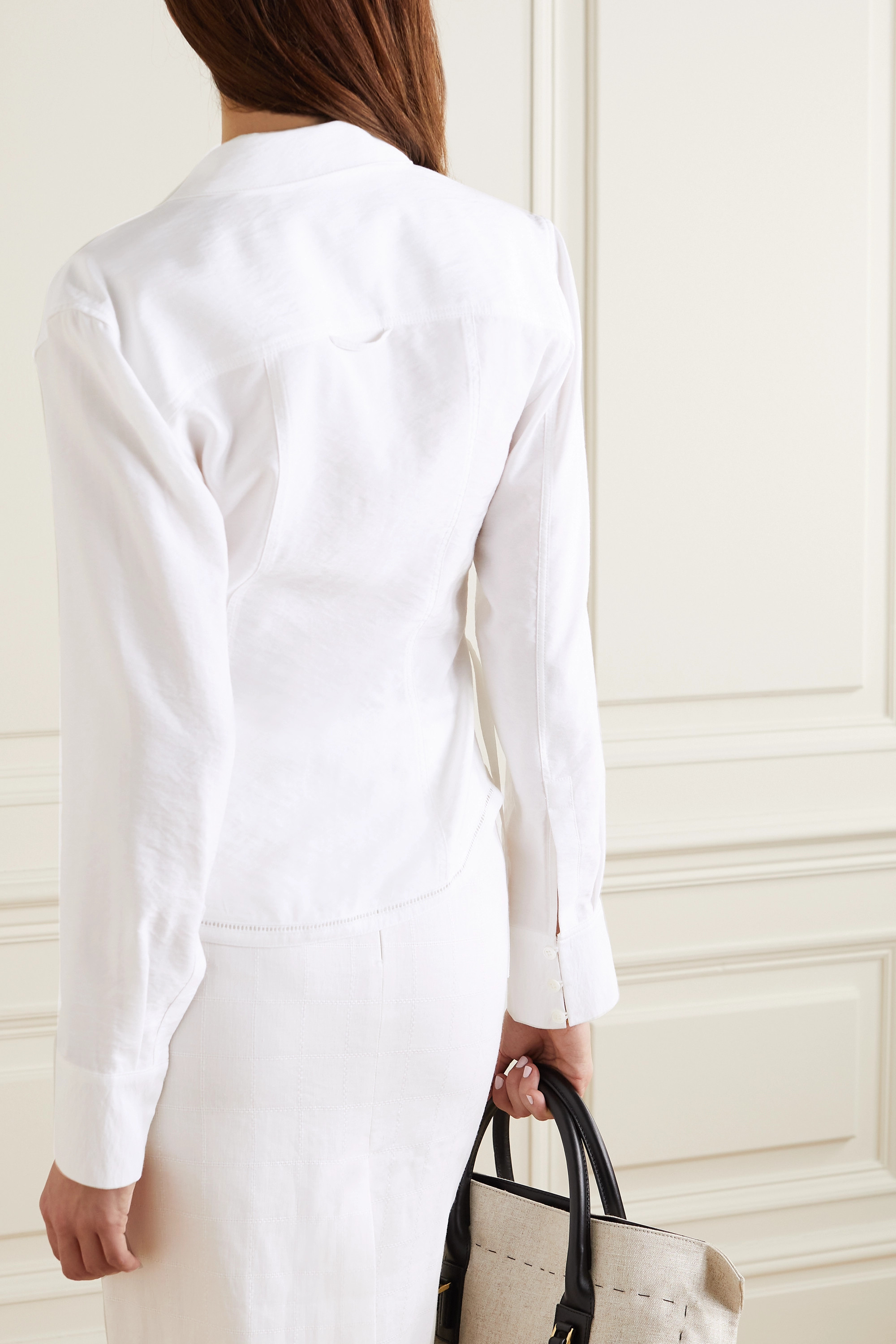 Jacquemus Nappe tie-detailed cutout woven shirt