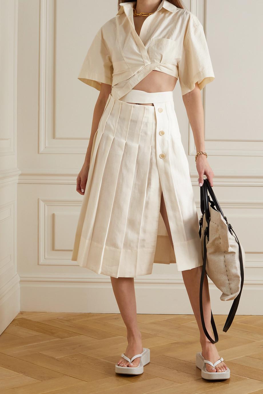 Jacquemus Cutout pleated linen midi skirt