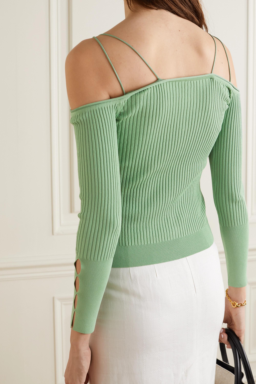 Jacquemus Tordu off-the-shoulder cutout ribbed-knit cardigan