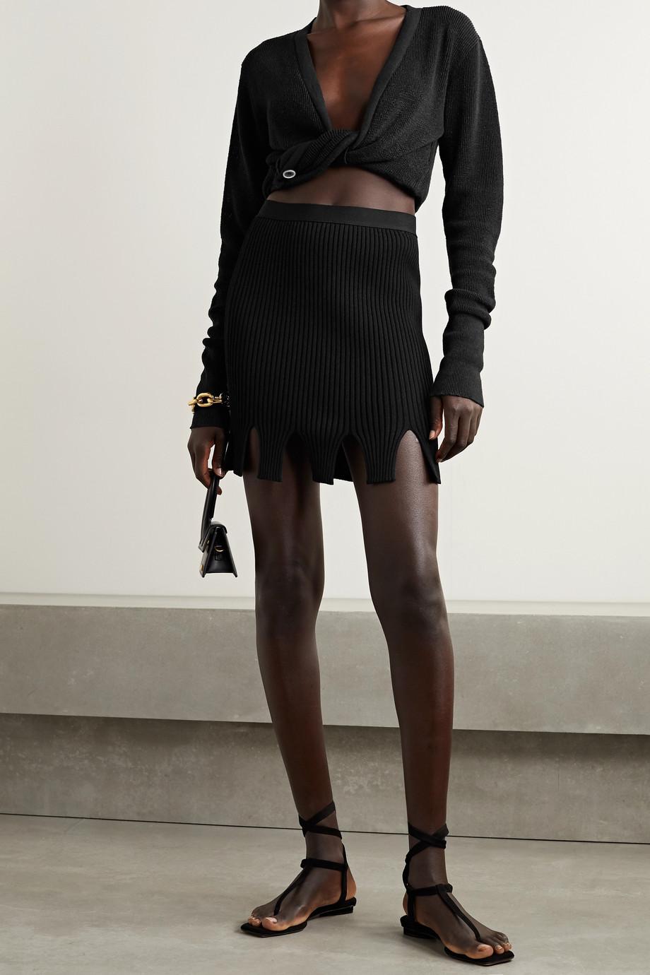 Jacquemus Noue cropped twist-front linen-blend top