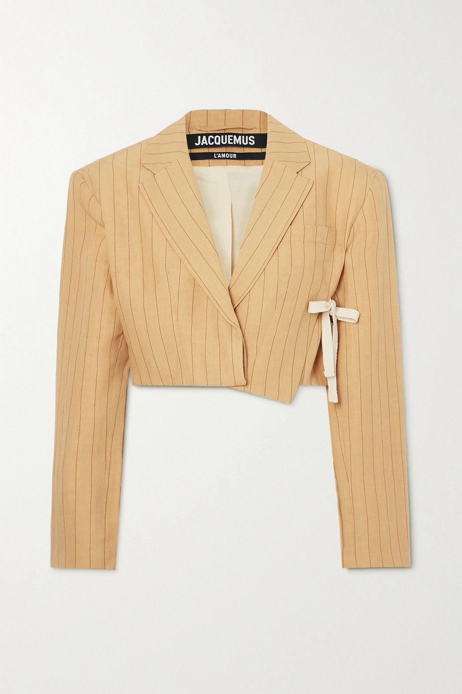 Jacquemus Santon tie-detailed pinstriped linen blazer