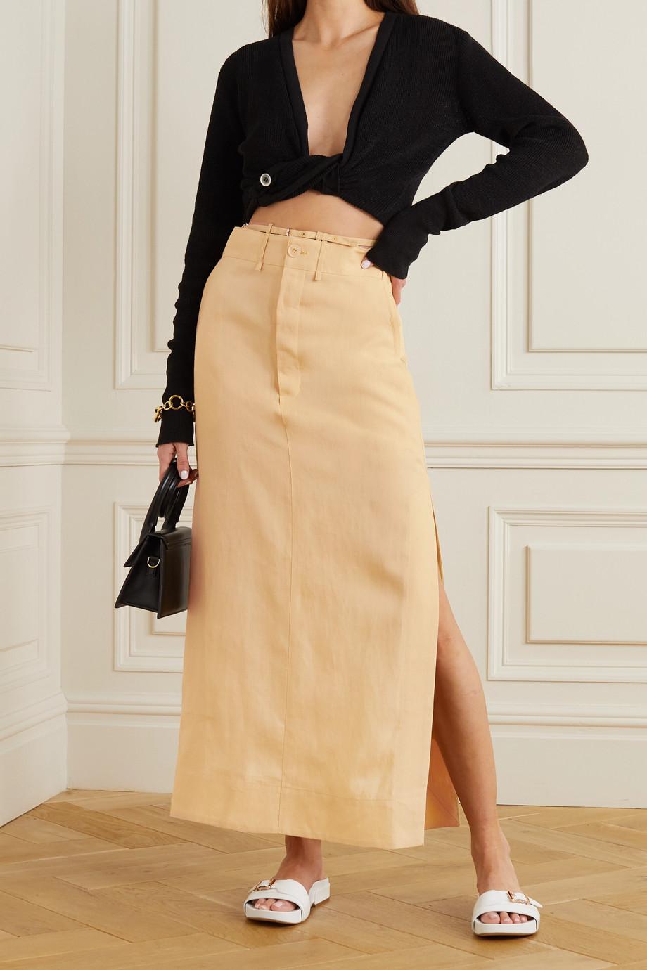 Jacquemus Terraio buckled linen maxi skirt