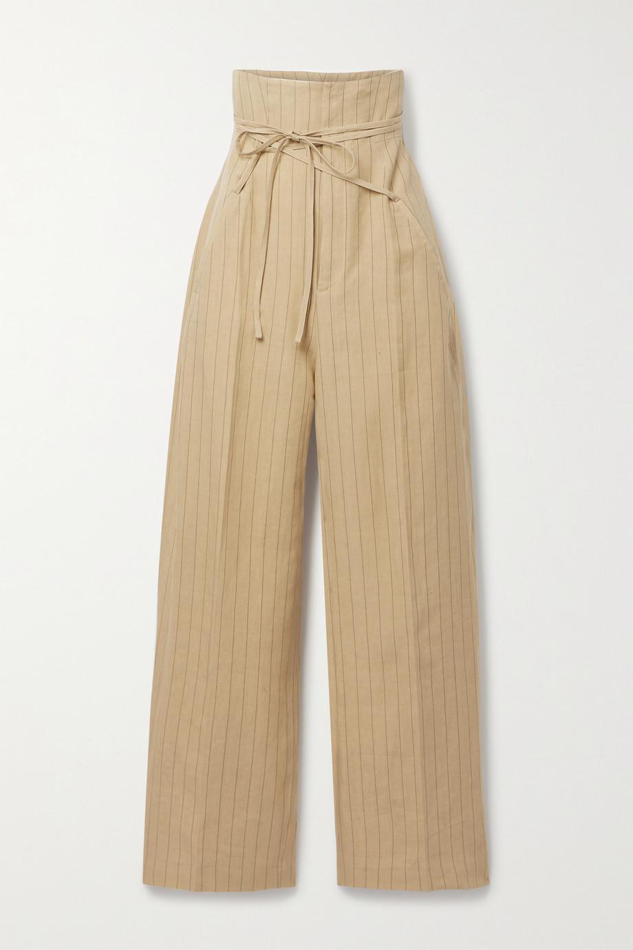 Jacquemus Novio belted pinstriped linen wide-leg pants