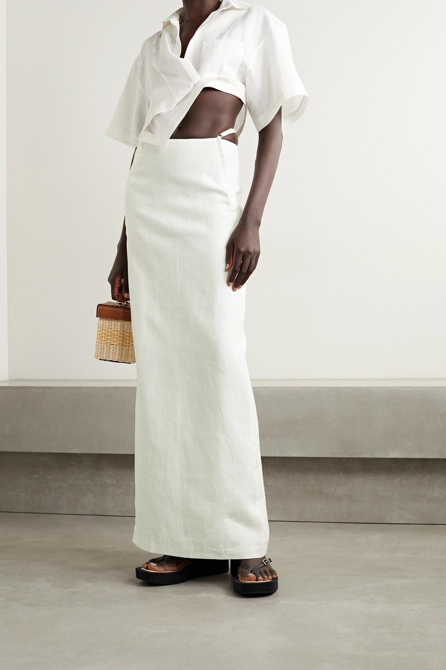 Jacquemus Novio 挖剪亚麻提花超长半身裙