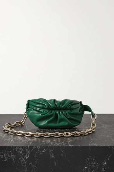 Bottega Veneta Belts THE CHAIN POUCH GATHERED LEATHER BELT BAG