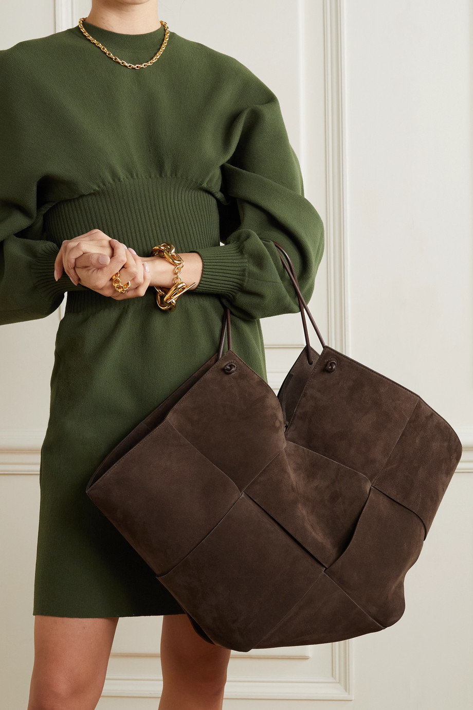 Bottega Veneta Flower Basket large intrecciato suede and leather tote
