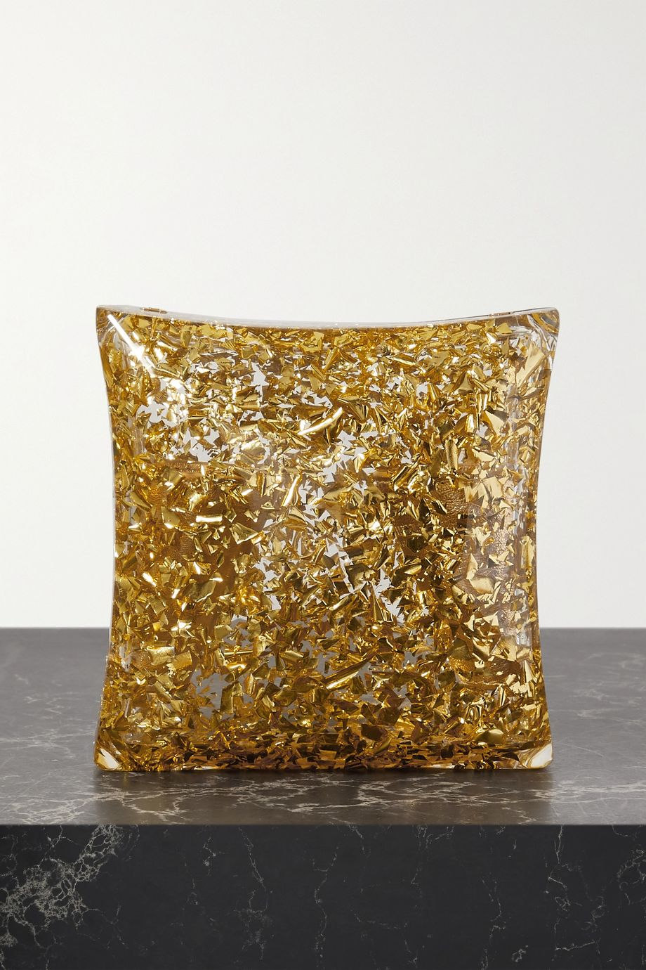 Bottega Veneta Clutch aus Plexiglas® in Glitter-Optik