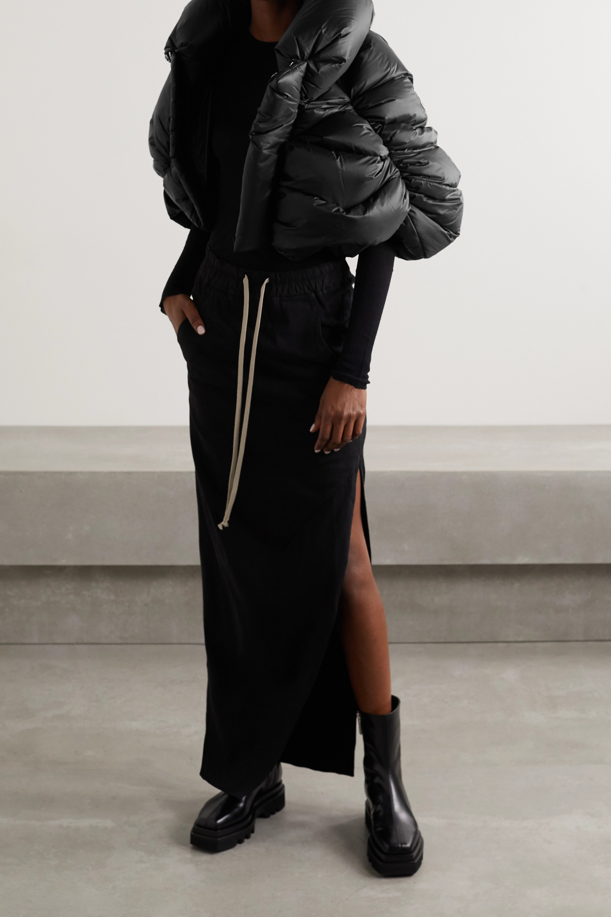 Moncler + Rick Owens Cropped quilted shell down jacket