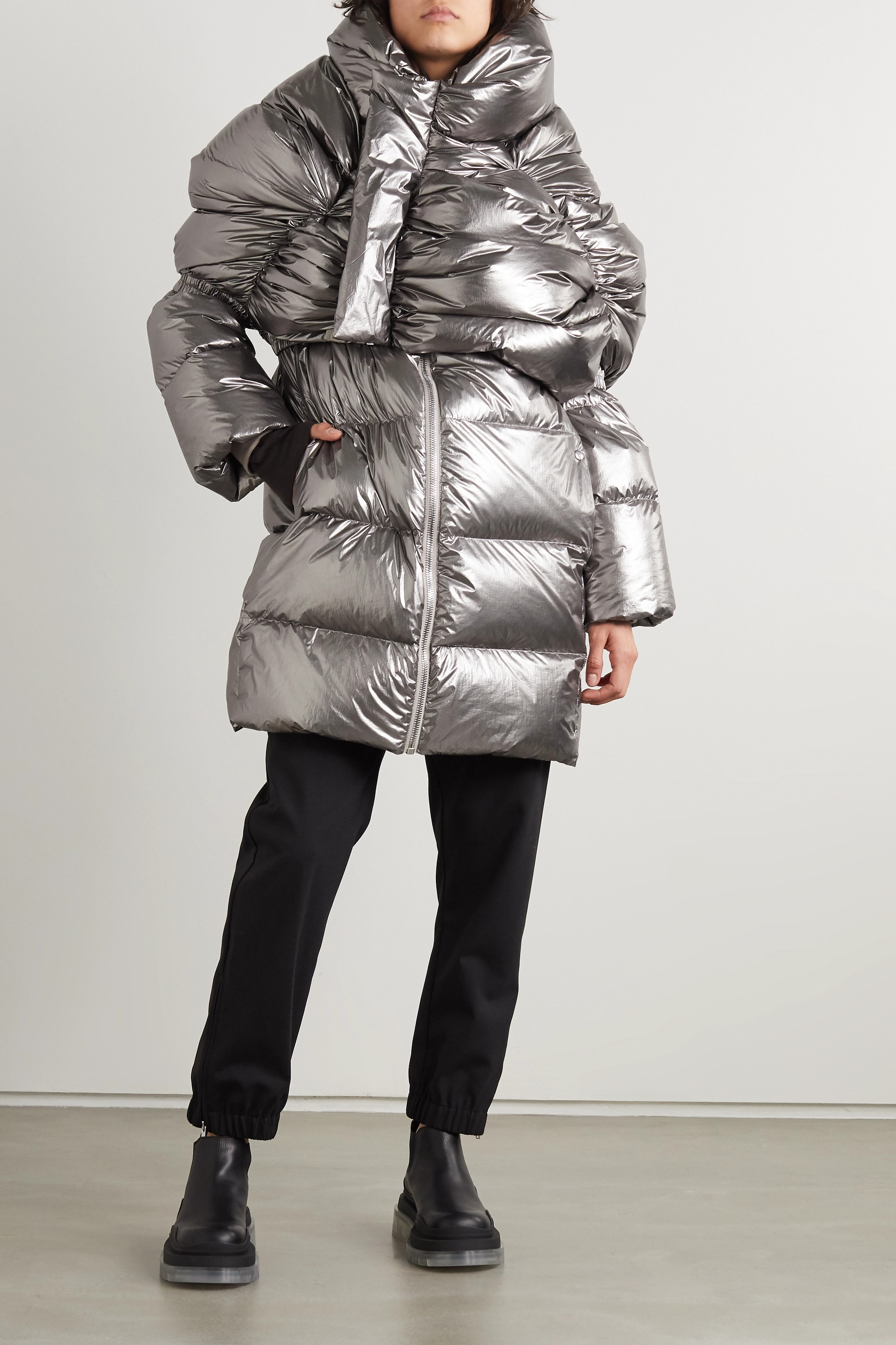 Moncler + Rick Owens UFO cropped metallic quilted shell down coat