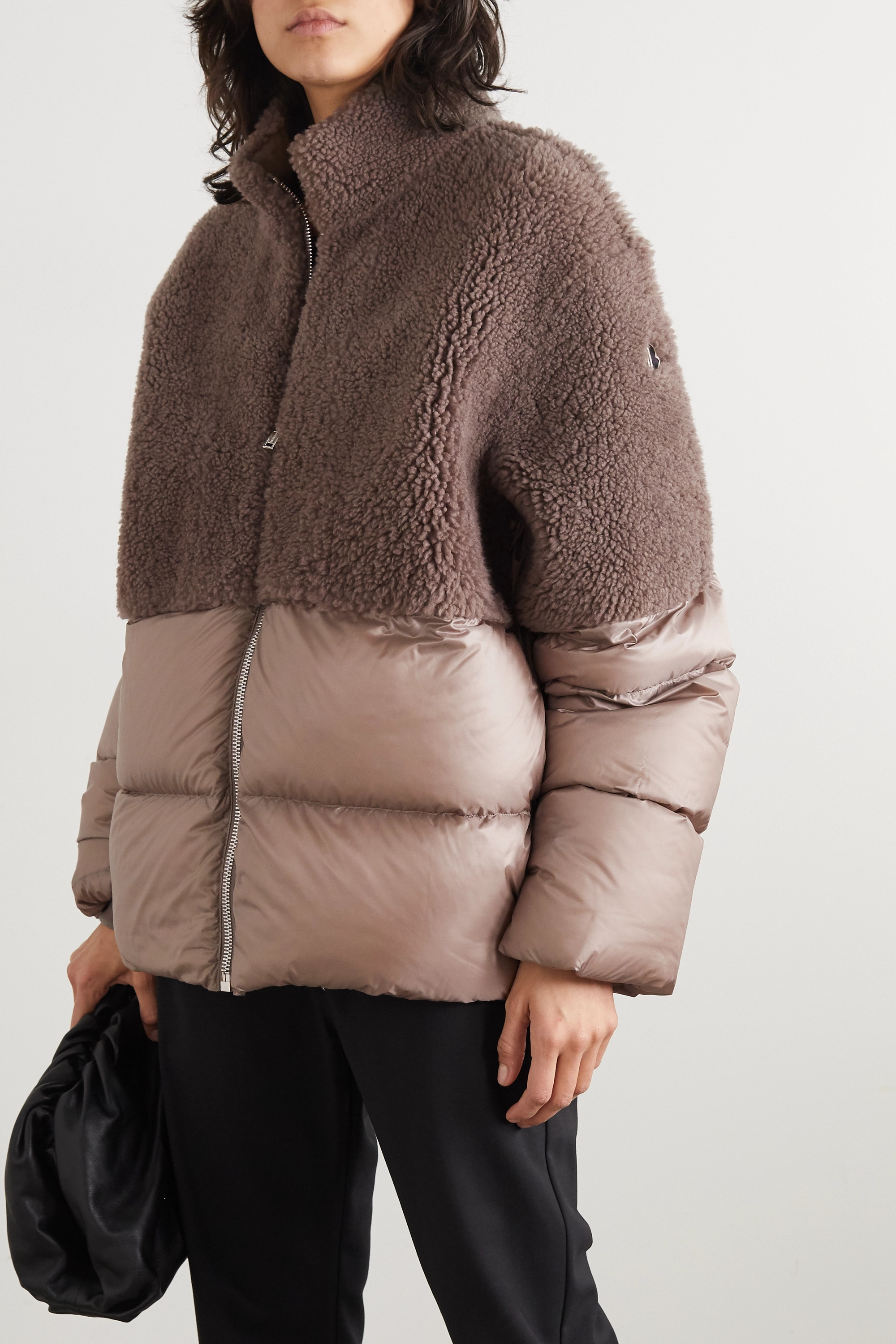 Moncler + Rick Owens Coyote shearling and quilted shell down jacket
